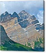 Mountain Peaks From Bow Summit Along Icefield Parkway In Alberta Canvas Print