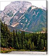 Mountain Peaks Over Johnson Lake In Banff Np-alberta Canvas Print