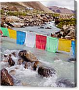 Mountain River And Buddhist Flags Lungta  Canvas Print