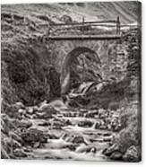 Mountain Stream With Bridge Canvas Print