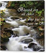 Mountain Stream With Scripture Canvas Print