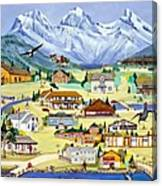Mountain Town Of Canmore Canvas Print