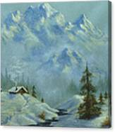 Mountain View With Creek Canvas Print