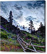 Mountain Wooden Fence  Canvas Print