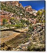 Mountains And Virgin River - Zion Canvas Print