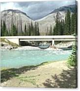 Mountains Green River Under Bridge Canvas Print
