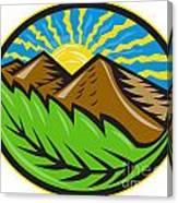 Mountains Leaf Sunburst Retro Canvas Print