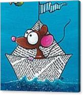 Mouse In His Paper Boat Canvas Print