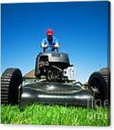 Mowing The Lawn Canvas Print