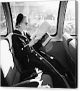 Mrs. William Mcmanus Reading On A Train Canvas Print