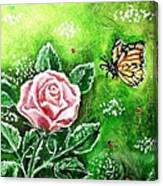 Ms. Monarch And Her Ladybug Friends Canvas Print