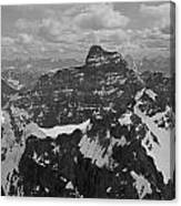 T-703512-bw-mt. Hungabee From Summit Of Mt. Lefroy-bw Canvas Print