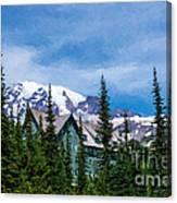 Mt Rainier And Paradise Inn Canvas Print