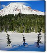 Mt Rainier And Three Trees Canvas Print