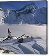 Mt Sefton Climber At Mueller Glacier Canvas Print