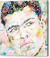 Muhammad Ali - Watercolor Portrait.1 Canvas Print