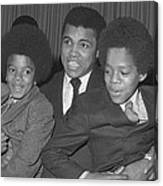 Muhammad Ali With Young Michael Jackson Canvas Print