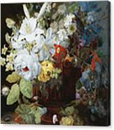 Multi-colored Flower Bouquet In Brown Vase C1784 Canvas Print