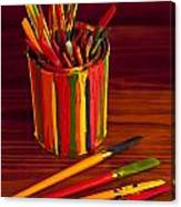Multi Colored Paint Brushes Canvas Print