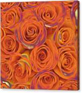 Multi Rose Electric Orange Canvas Print