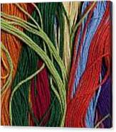 Multicolored Embroidery Thread Mixed Up  Canvas Print