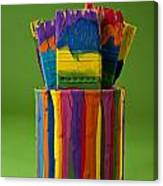 Multicolored Paint Can With Brushes Canvas Print
