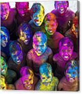 Multicoloured Happy Faces Canvas Print