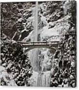 Multnoma Falls In Winter Canvas Print