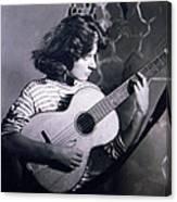 Mum Chris With Her Guitar Gitana Canvas Print