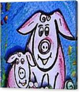 Mummy And Baby Pig  Canvas Print