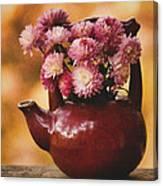 Mums In A Teapot Still Life Canvas Print