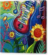 Music On Flowers Canvas Print