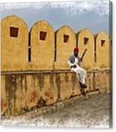 Musician - Amber Palace - India Rajasthan Jaipur Canvas Print