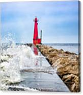 Muskegon Channel South Pier Lighthouse and Wave, Lake Michigan Canvas Print