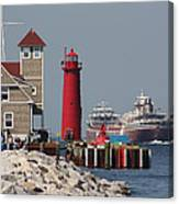 Muskegon Coast Guard And Light House Canvas Print