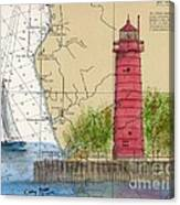 Muskegon Lighthouse Mi Nautical Chart Map Art Cathy Peek Canvas Print