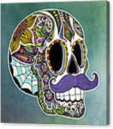Mustache Sugar Skull Canvas Print