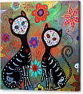 My 2 Cats Dia De Los Muertos Canvas Print