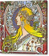 My Acrylic Painting As An Interpretation Of The Famous Artwork Of Alphonse Mucha - Zodiac - Canvas Print