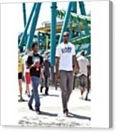 My Little Brother And I At Cedar Point Canvas Print