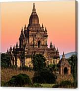 Myanmar, Bagan, Ancient Temple At Canvas Print