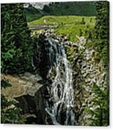 Myrtle Falls In Front Of Mt. Rainier Canvas Print