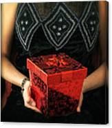 Mysterious Woman With Red Box Canvas Print