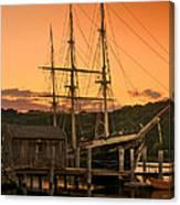 Mystic Seaport Sunset-joseph Conrad Tallship 1882 Canvas Print