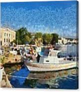 Mytilini Port Canvas Print