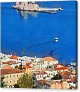Nafplio And Bourtzi Fortress Canvas Print