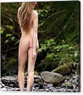 Naked Girl In The River  Canvas Print