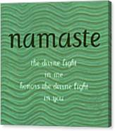 Namaste With Blue Waves Canvas Print