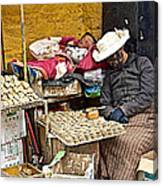 Nap Time For Child And Street Shopkeeper In Lhasa-tibet   Canvas Print