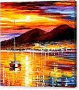 Naples-sunset Above Vesuvius - Palette Knife Oil Painting On Canvas By Leonid Afremov Canvas Print